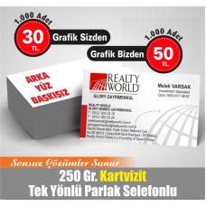 TEK TARAFLI 4 RENK BASKILI PARLAK SELEFONLU KARTVİZİT