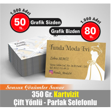 ÇİFT TARAFLI 4 RENK BASKILI PARLAK SELEFONLU KARTVİZİT