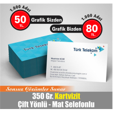 ÇİFT TARAFLI 4 RENK BASKILI MAT SELEFONLU KARTVİZİT